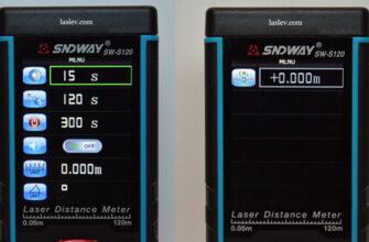 Menu of the SNDWAY SW-S120 laser distance meter.
