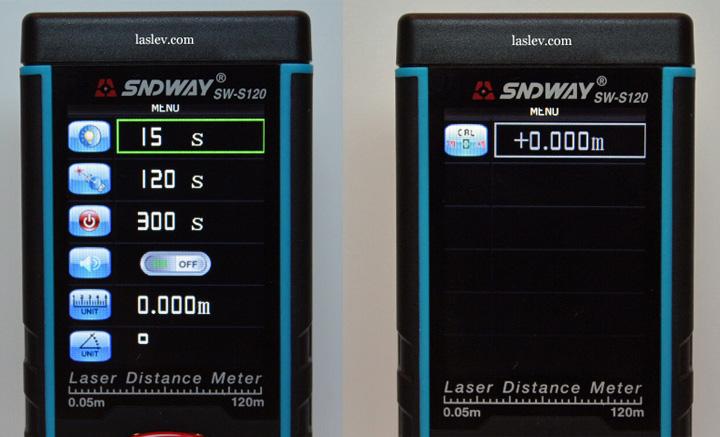 Full settings menu for laser measure Sndway SW-S120