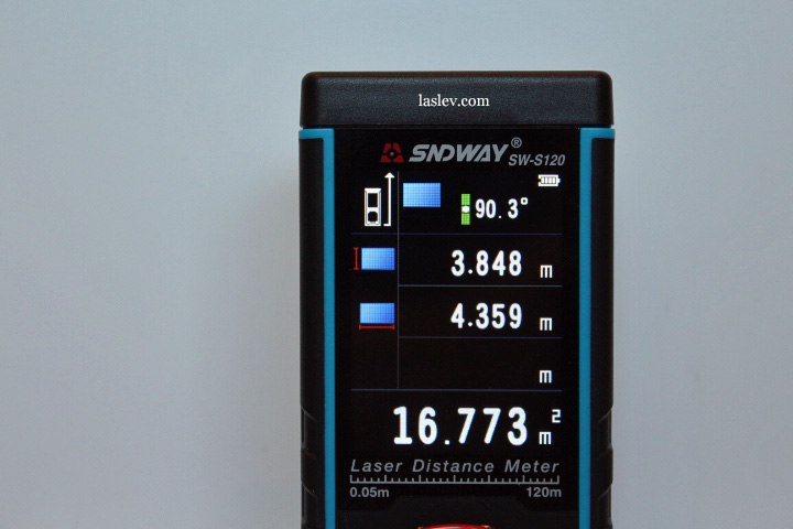 Calculating the area of the laser measure Sndway SW-S120.
