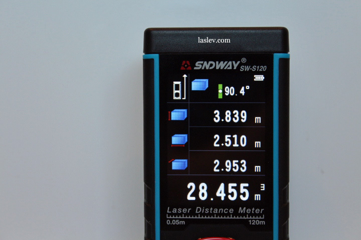 Calculating the volume of the laser measure Sndway SW-S120.
