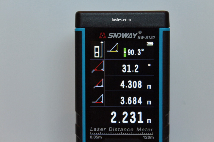 On the screen, all calculations when measuring through an obstacle with the Sndway SW-S120 rangefinder are displayed.