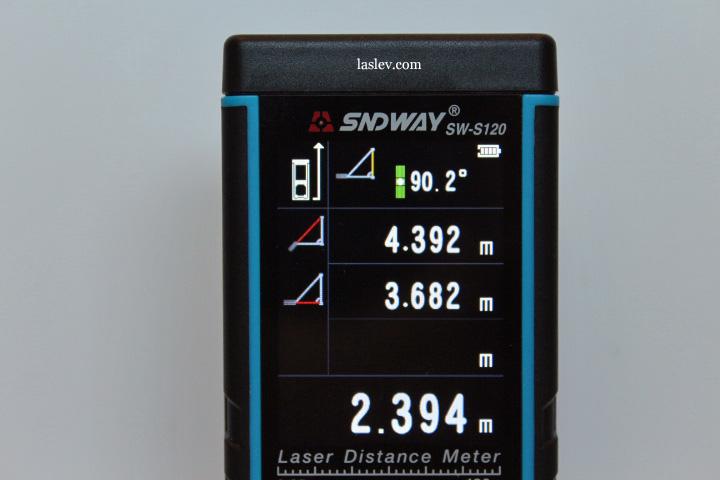 Вычисление недоступной высоты с помощью Laser distance meter Sndway SW-S120.