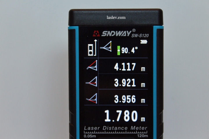 The screen shows the calculation of the height using three measurements.