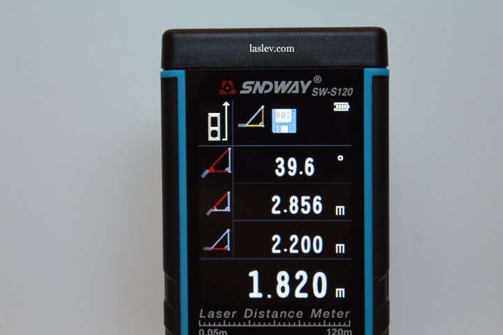 Write calculations to the internal memory of the Laser distance meter.