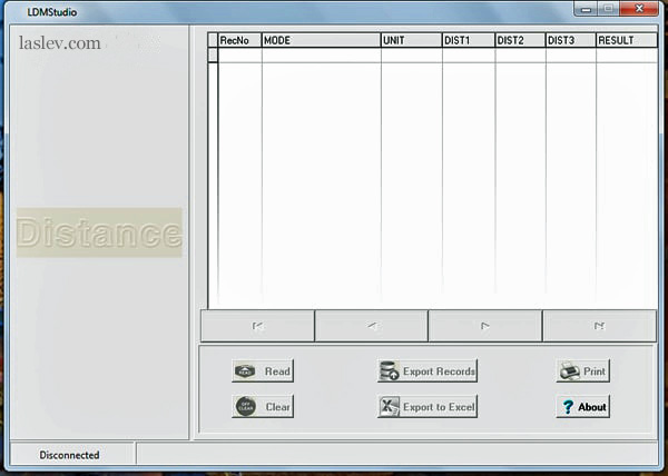 Interface of the computer program laser measure Sndway SW-S120.