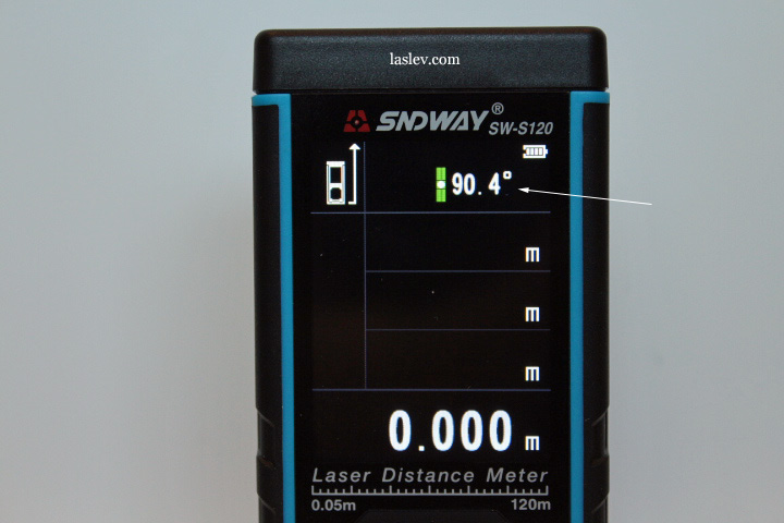 The angle of the laser rangefinder is always visible on the screen
