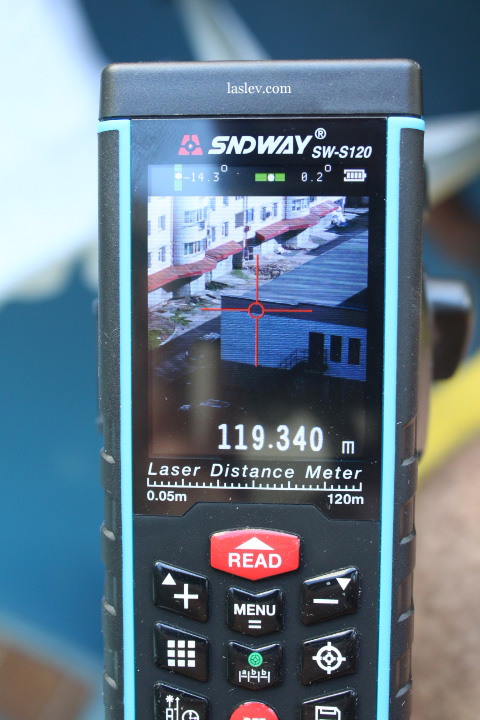 Work laser measure Sndway SW-S120 on the street with the built-in camera.