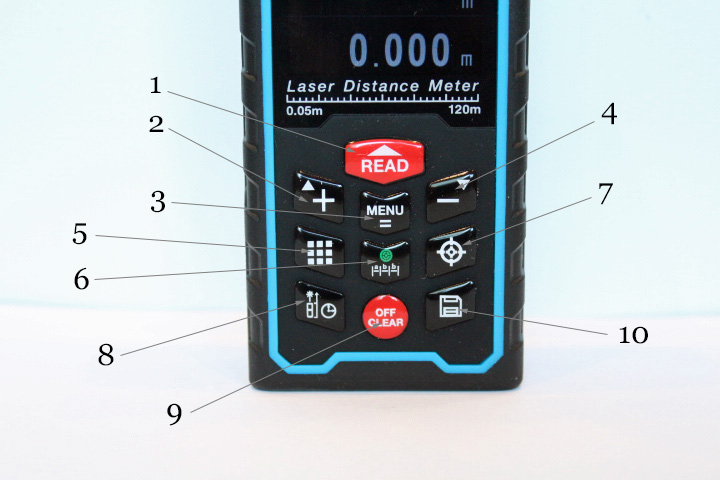 The laser measure Sndway SW-S120 keyboard has 10 buttons.
