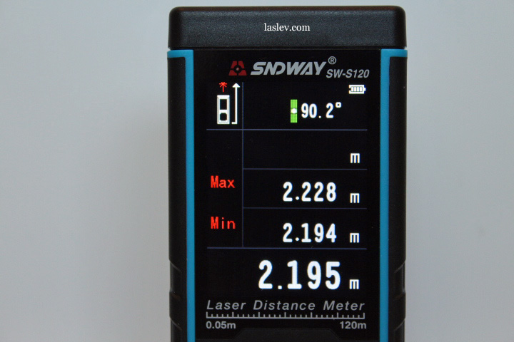 Displays the min/max function on the laser measure Sndway SW-S120 screen.