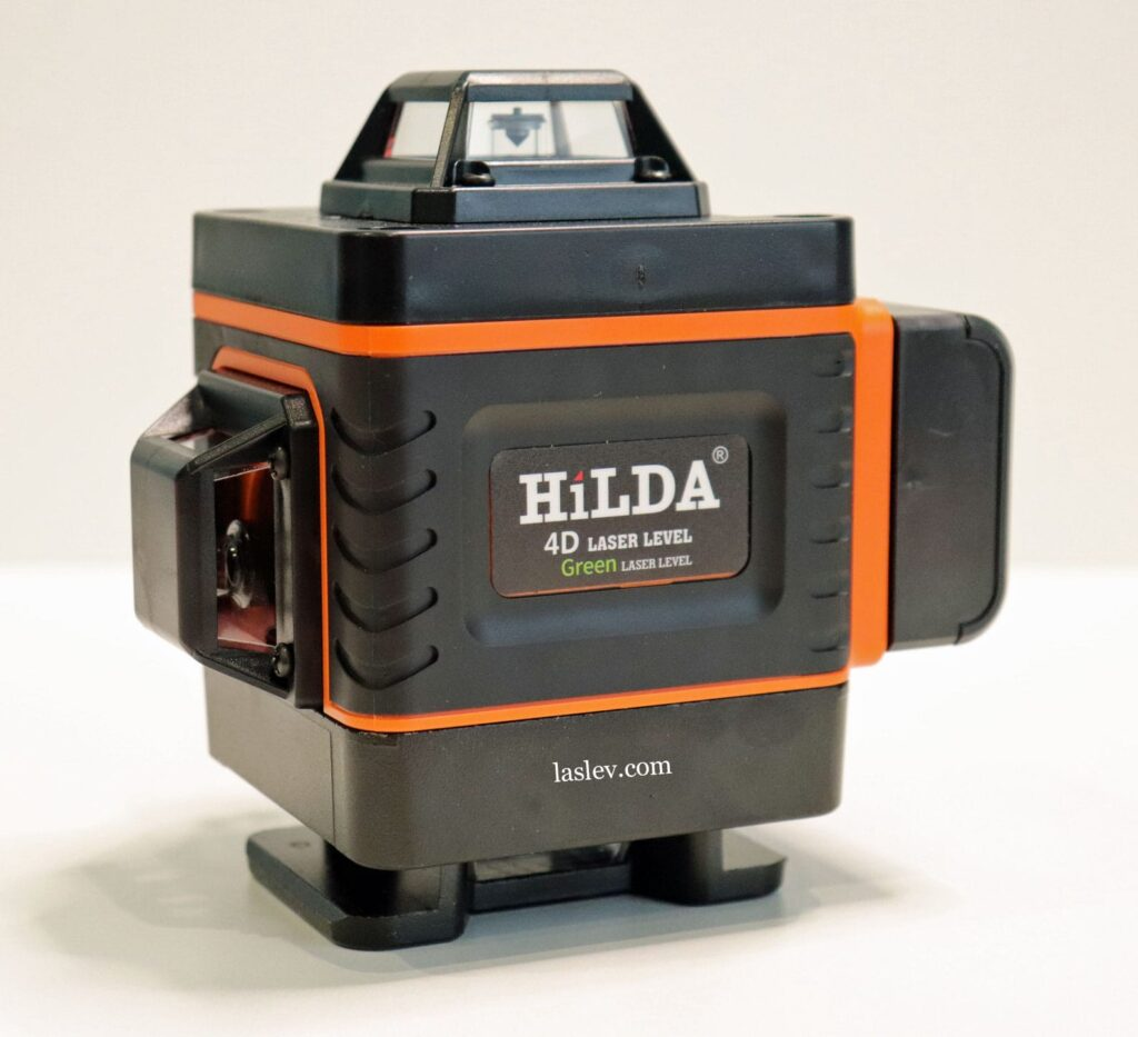 The appearance of the HILDA 4D green laser level with 16 lines or 4 planes of 360 degrees.