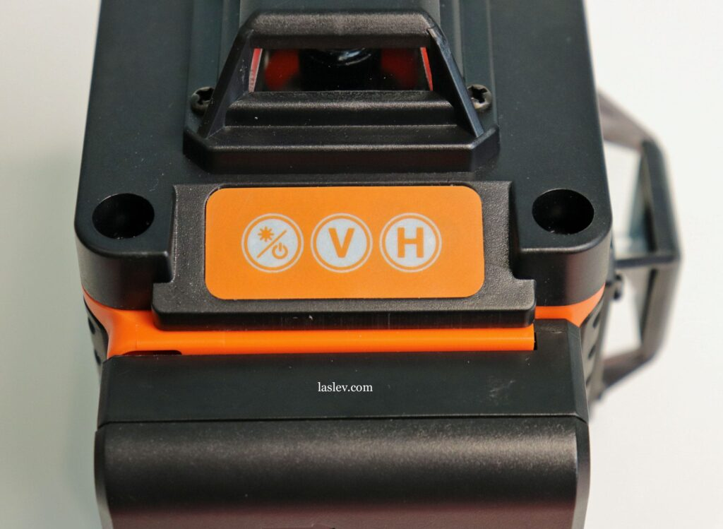 Laser level HILDA 4D 16 Lines touch control panel with three buttons.
