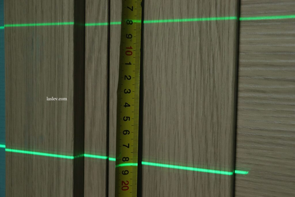 The thickness of the laser line at a distance of 5 meters.