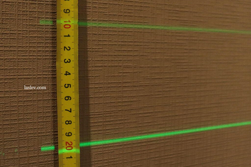 The thickness of the laser line at a distance of 10 meters.