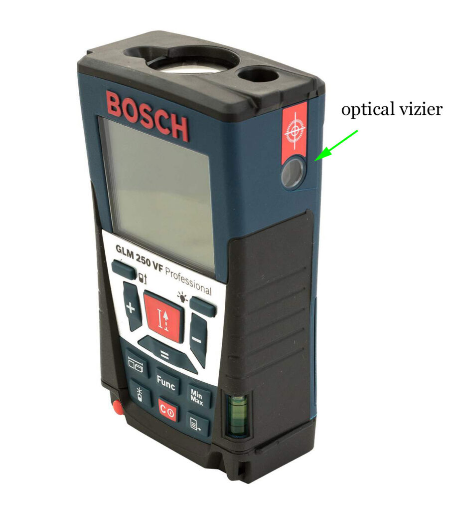 Optical vizier peephole for working with Laser distance meter outdoors in sunlight.