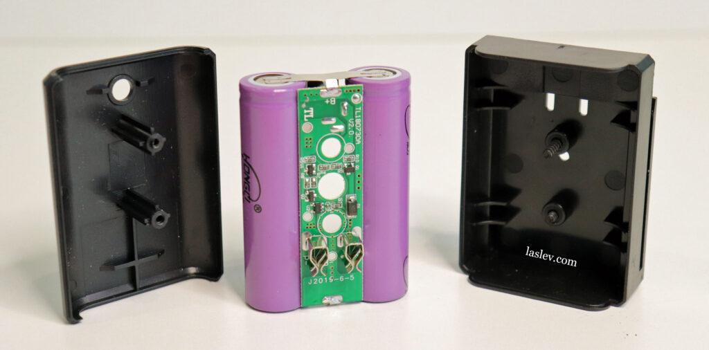 Disassembled HILDA 4D 16 Lines Green laser level battery.