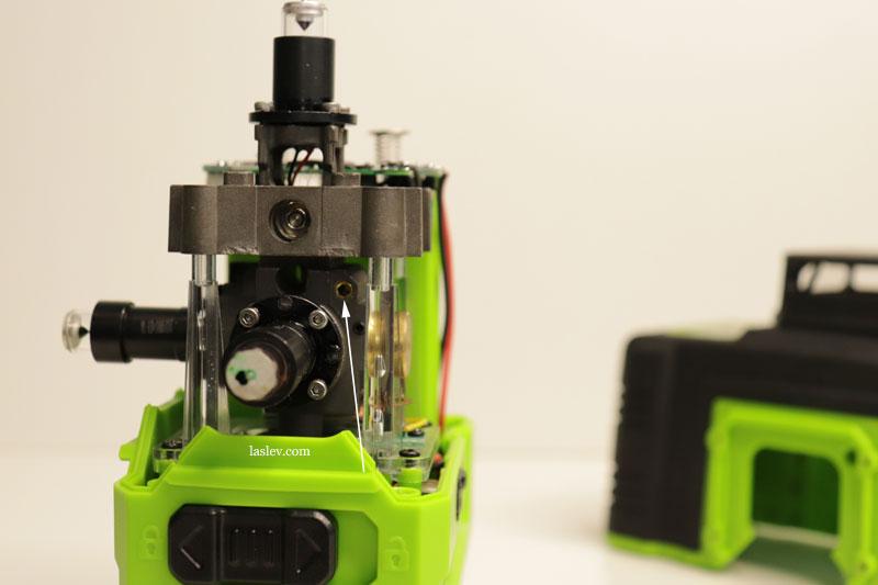 Longitudinal adjustment bolt for adjusting the compensator at the Zokoun IE16R 4D laser level.