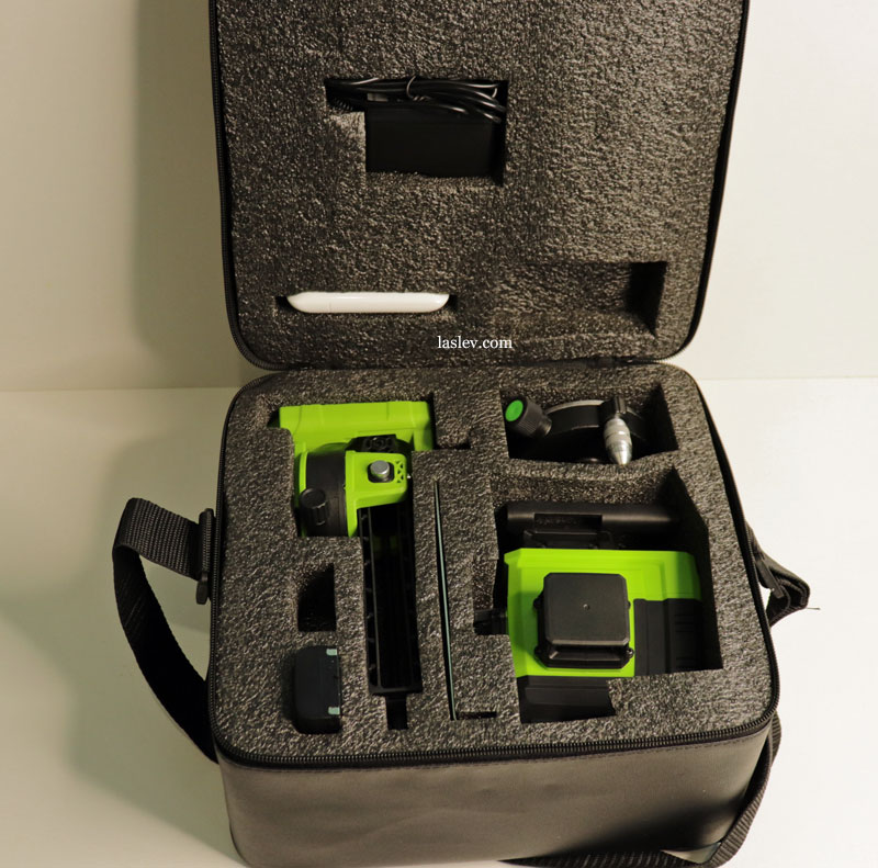 Complete Zokoun IE16R 4D laser level kit packed in a bag.