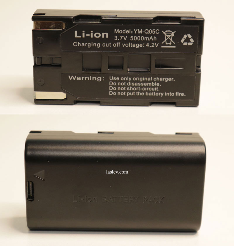 Technical characteristics and model number of the lithium battery of the Zokoun IE16R laser level.