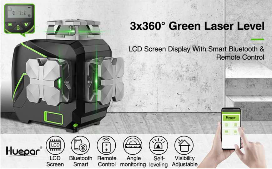 The Huepar S03CG model is the first place in the list of the best 3D laser levels.