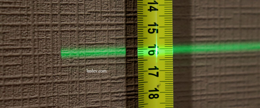 The thickness of the laser line at a distance of 10 meter.