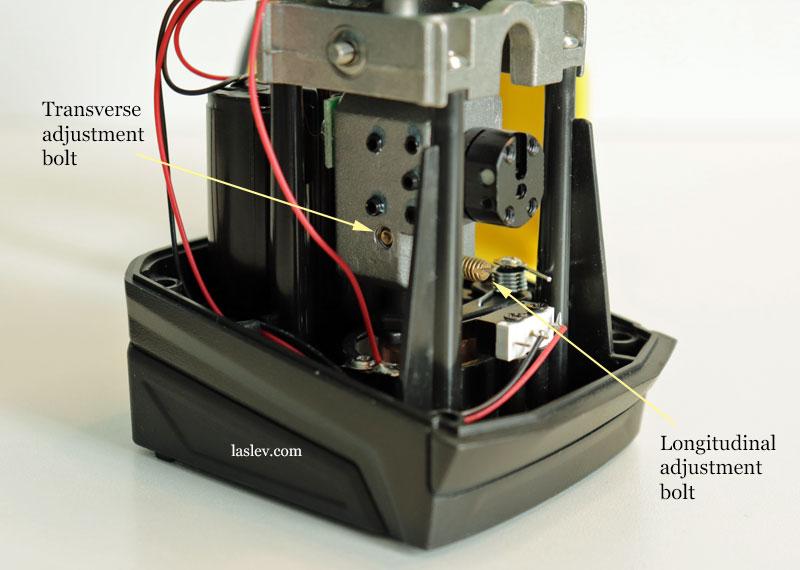 Photo of the transverse and longitudinal adjustment bolt.