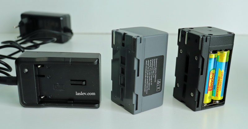 Li-ion battery, charger and special adapter box for simple batteries for Huepar DT03CG.