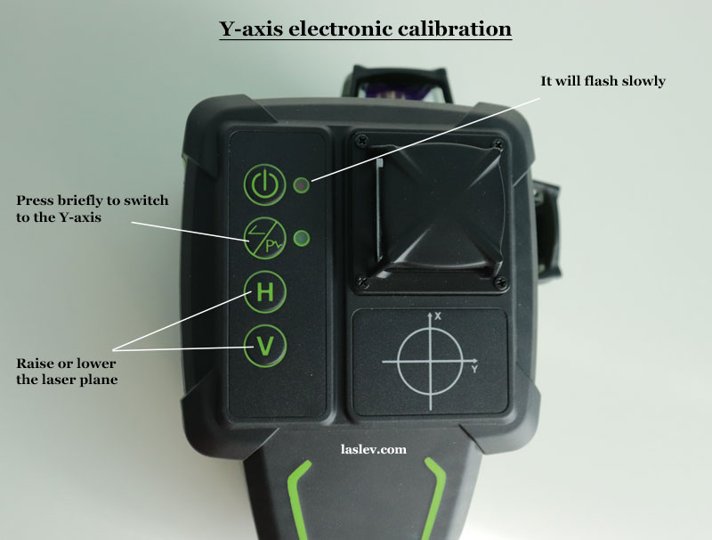 """Electronic adjustment of the Huepar DT03CG laser level on the """"Y"""" axis"""