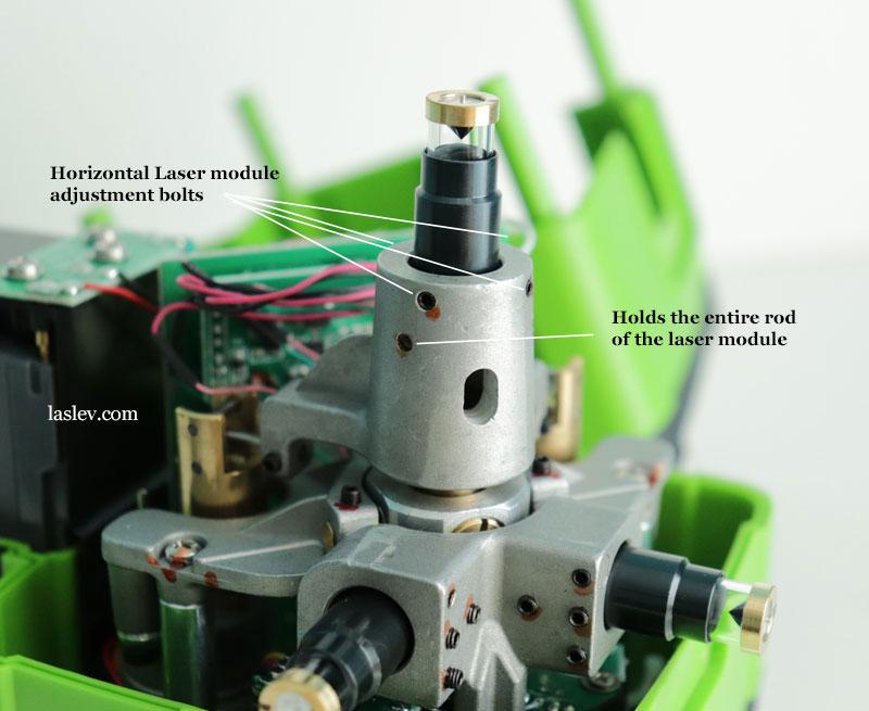 Alignment bolts of the horizontal laser module at Huepar DT03CG.