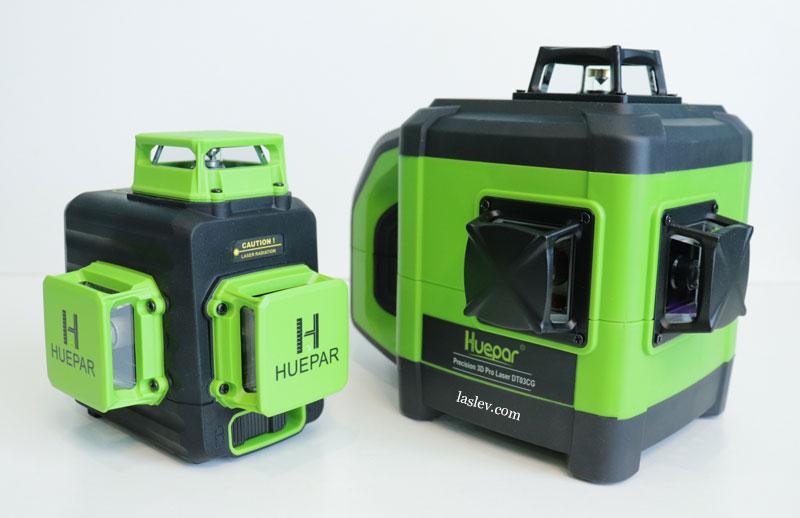 Comparison of the laser level dimensions of Huepar DT03CG and Huepar B03CG.