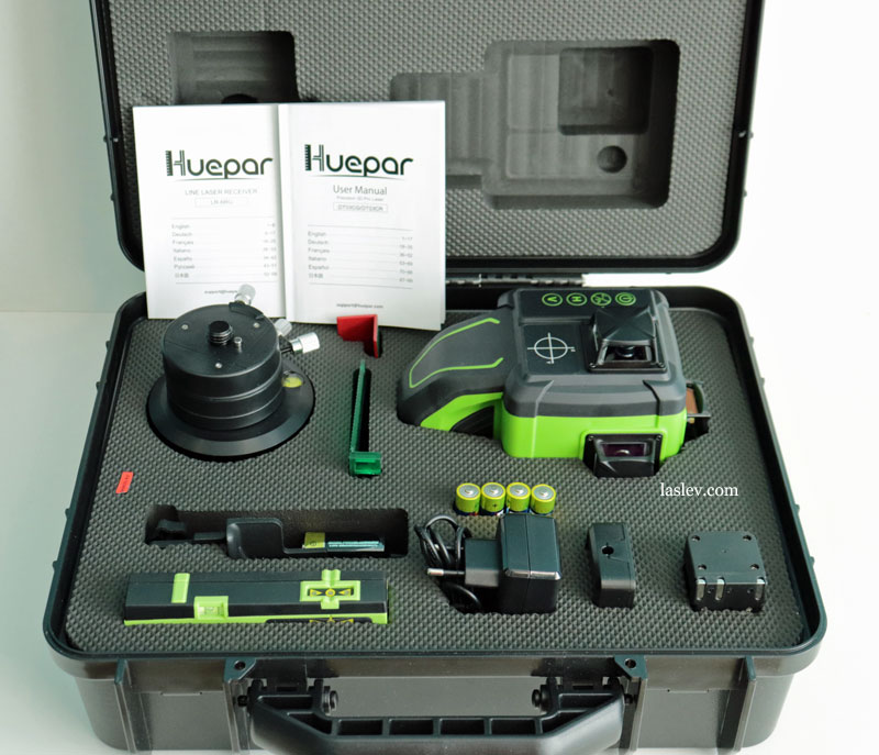 The package of delivery of the Huepar DT03CG laser level.