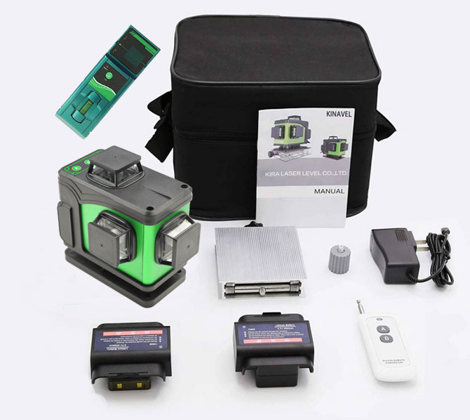 Affordable KINAVEL 4x360° laser level with receiver included.