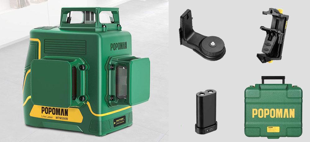 Cheaper laser level Popoman MTM350B 3x360 with green laser beams.