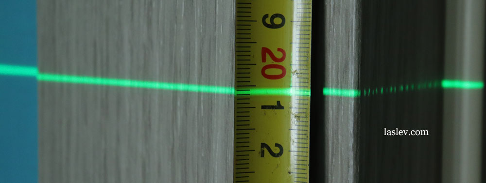 The thickness of the laser line at a distance of 5 meter.