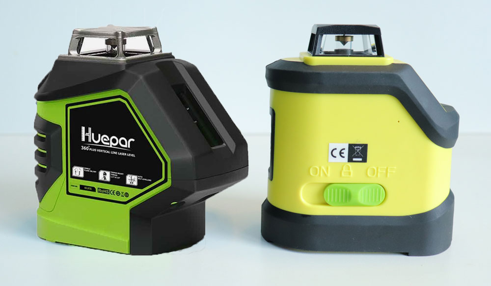 Comparison of the Huepar 621CG laser level with a similar laser level of another brand.