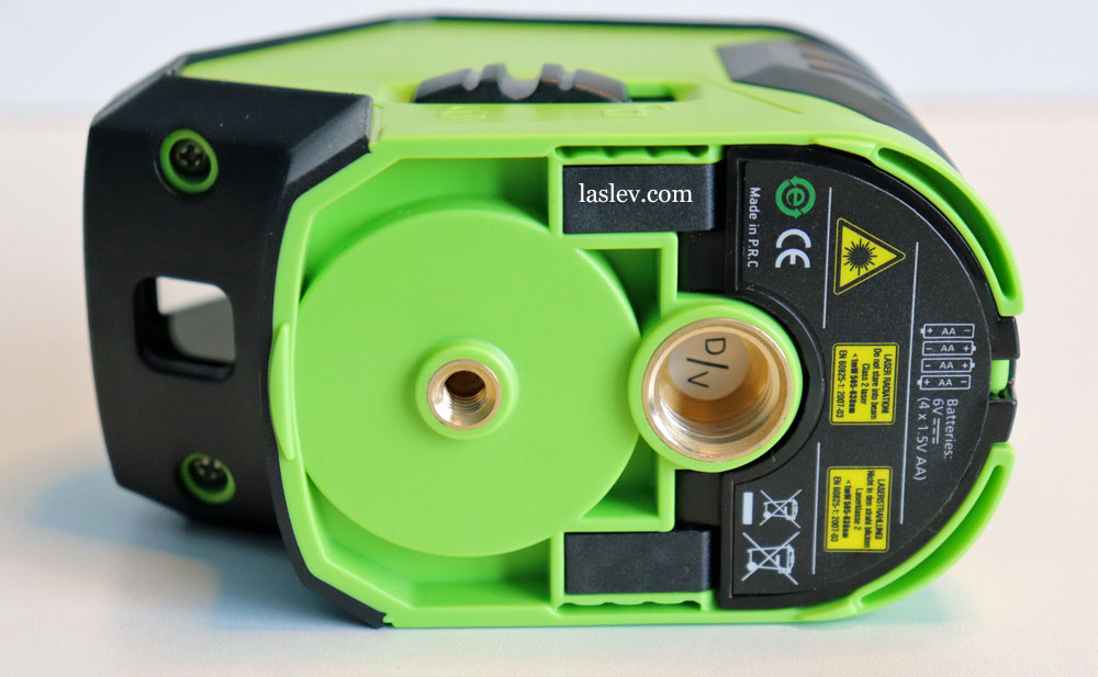 Two threads for attaching the laser level to various accessories.